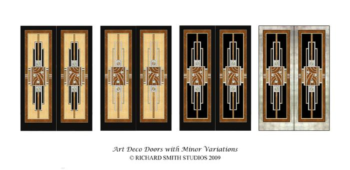 Proposal for a set of Art Deco Doors to be Faux Bois and Metal leaf  sc 1 st  Richard Smith Studios & Richard Smith Studios