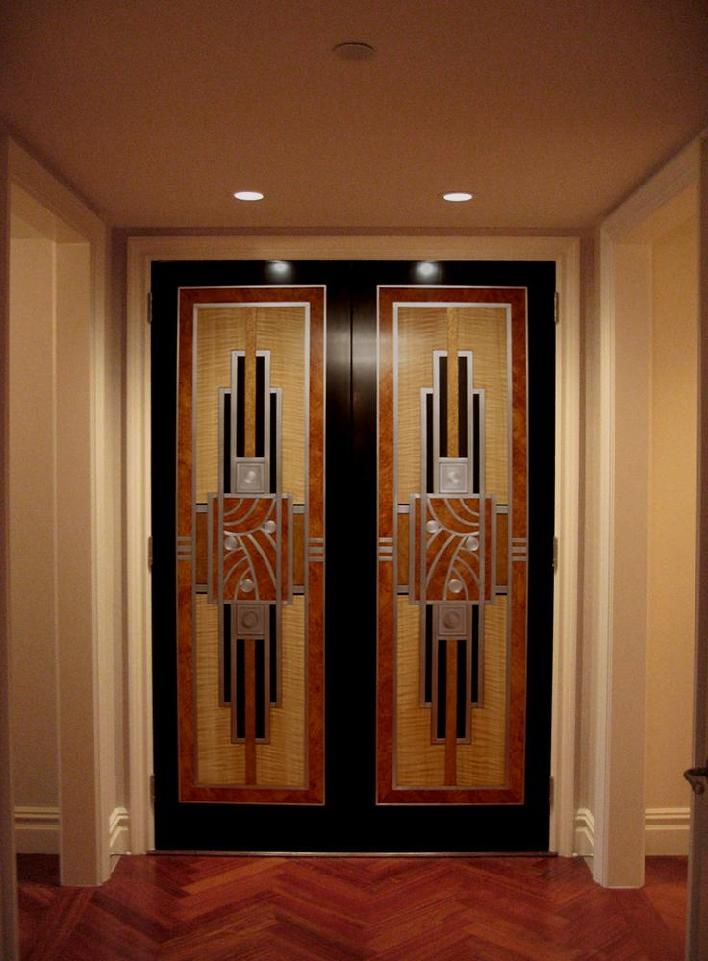 Art Deco Style Doors with Faux Bird\u0027s Eye Faux Fiddleback Brushed Aluminum Leaf and Textured Faux Bronze & Richard Smith Studios